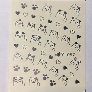 Other - NWT Nail Art Waterslide Tattoos Silver Cute Animal